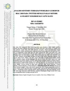 Analisis Sentimen Terhadap Pemilihan Gubernur Riau 2018 Pada Twitter Menggunakan Metode K Nearest Neighbor Dan Naive Bayes Universitas Islam Negeri Sultan Syarif Kasim Riau Repository