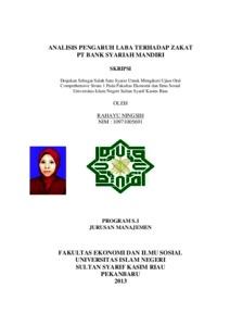 Analisis Pengaruh Laba Terhadap Zakat Pt Bank Syariah Mandiri Universitas Islam Negeri Sultan Syarif Kasim Riau Repository