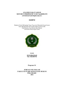 Analisis Zakat Saham Menurut Perspektif Yusuf Qardhawi Studi Kitab Fiqh Zakat Universitas Islam Negeri Sultan Syarif Kasim Riau Repository