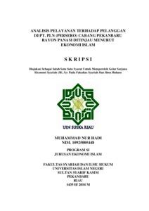 Analisis Pelayanan Terhadap Pelanggan Di Pt Pln Persero Cabang Pekanbaru Rayon Panam Ditinjau Menurut Ekonomi Islam Universitas Islam Negeri Sultan Syarif Kasim Riau Repository