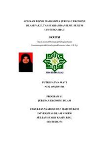 Aplikasi Bisnis Mahasiswa Jurusan Ekonomi Islam Fakultas Syariah Dan Ilmu Hukum Uin Suska Riau Universitas Islam Negeri Sultan Syarif Kasim Riau Repository